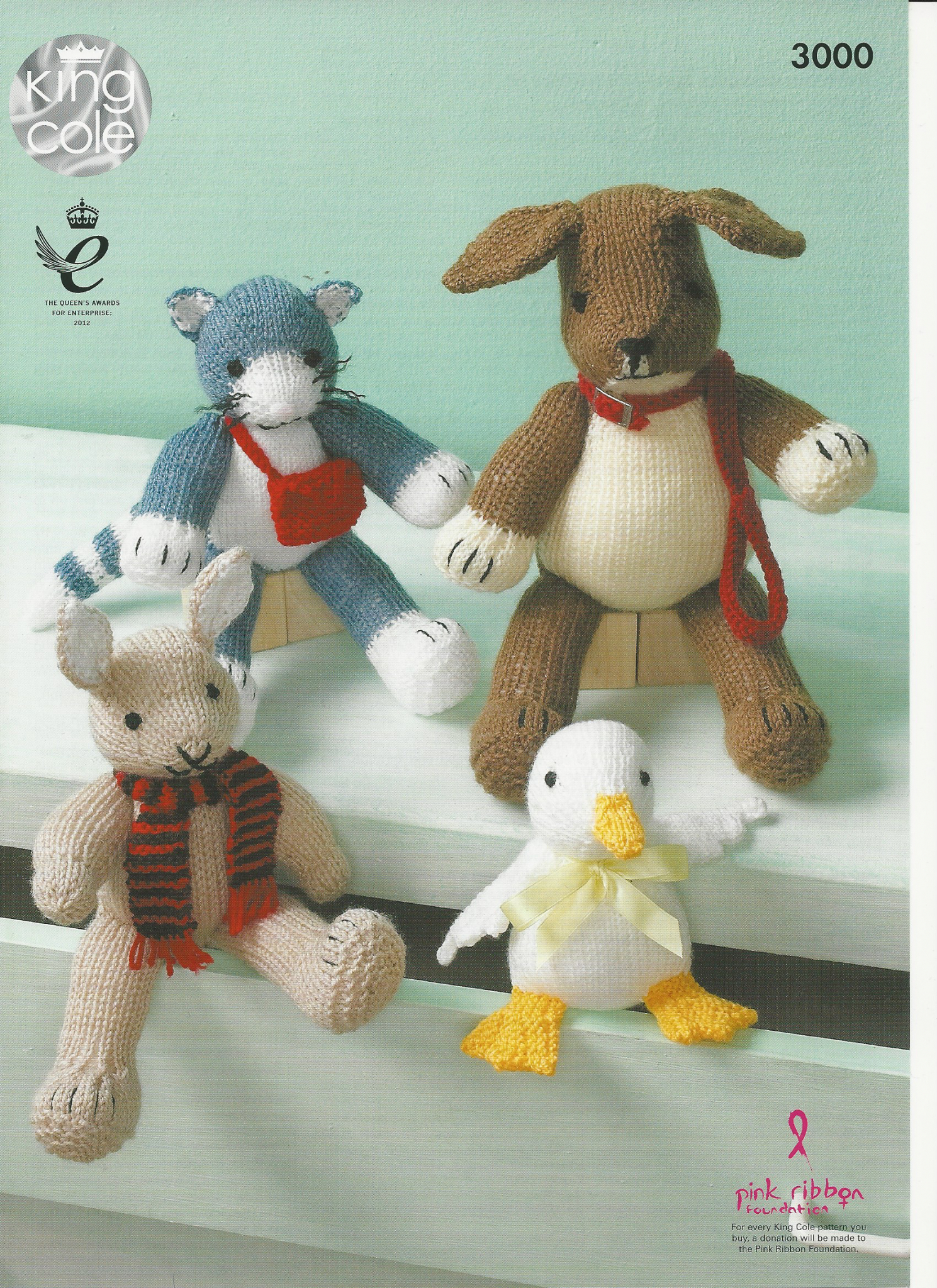 Knitting Patterns For Baby Toys King Cole Rabbit Duck Cat And Dog Toy Knitting Pattern In Aran And Dk 3000