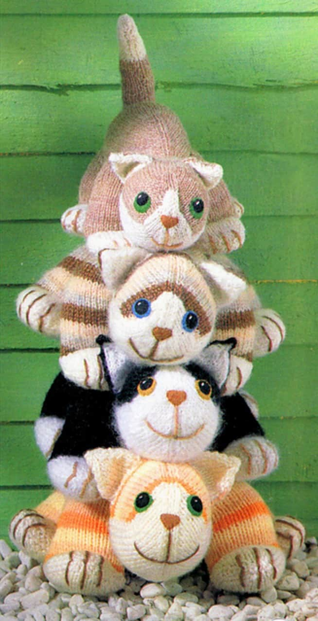 Knitting Patterns For Baby Toys Knitted Cats Patterns Will Love Whip Lots Free Stuffed Animal Four