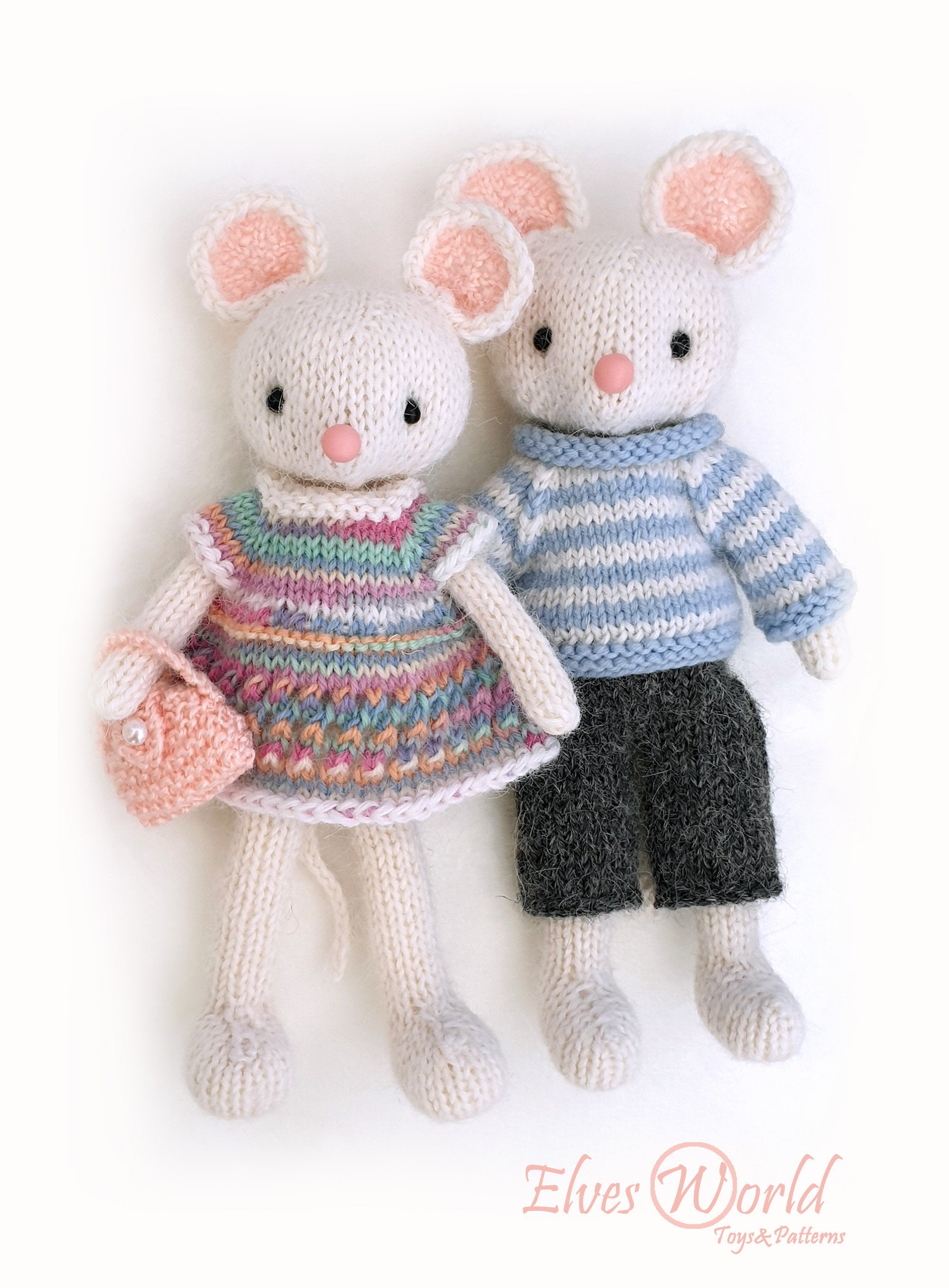 Knitting Patterns For Baby Toys Knitting Patterns Toy Mice Family Knitted Animal Pattern Knit Toy Stuffed Toy Making Diy Toy Pattern Ba Toy Amigurumi Two Pattern Deal Pdf