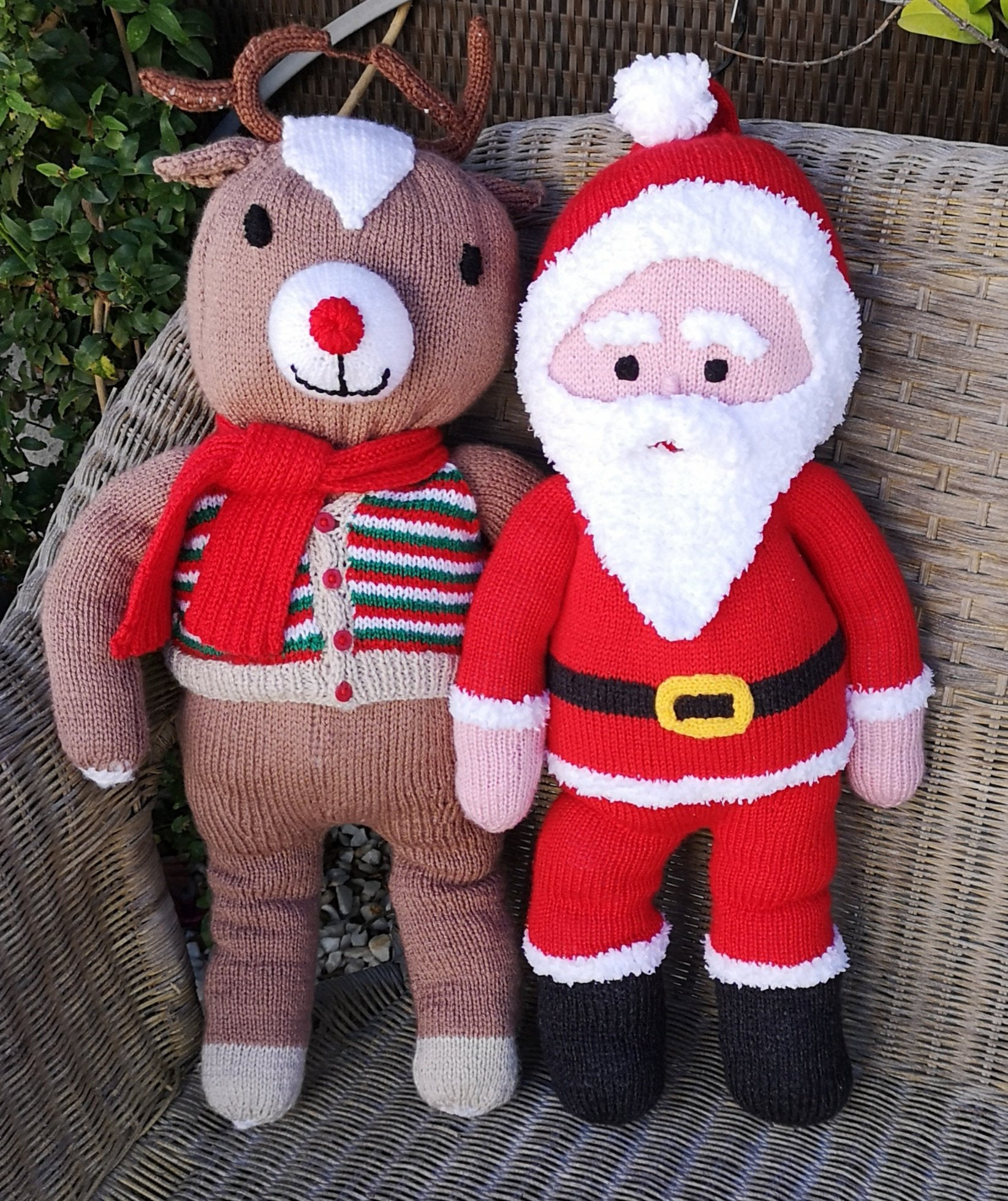 Knitting Patterns For Baby Toys Santa And Rudolph Knitting Pattern Knitted Christmas Toys Handmade