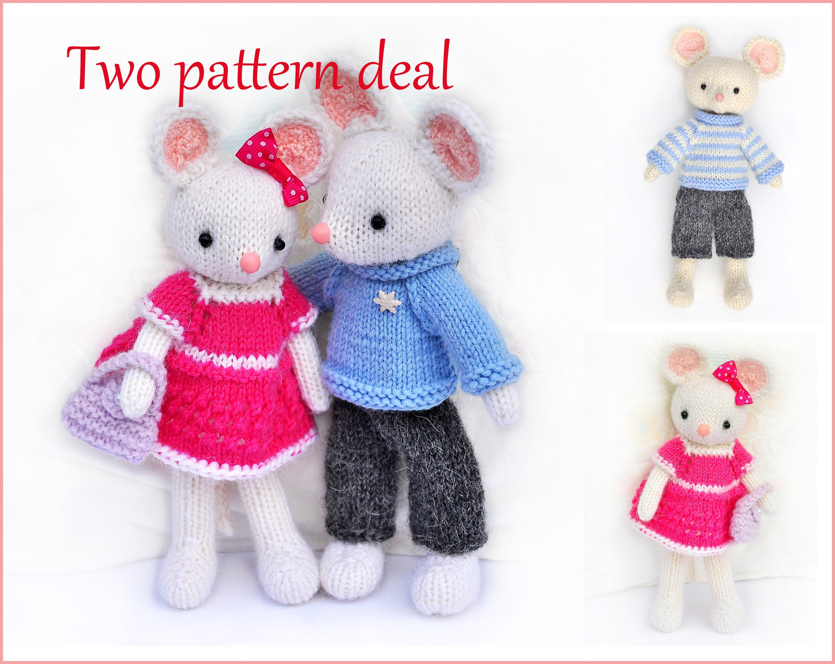 Knitting Patterns For Baby Toys Toy Knitting Patterns Two Pattern Deal Lilly And Peter Knitted Mice Amigurumi Mouse Knit Patterns Stuffed Toy Diy Toy Pattern Ba Toy Pdf