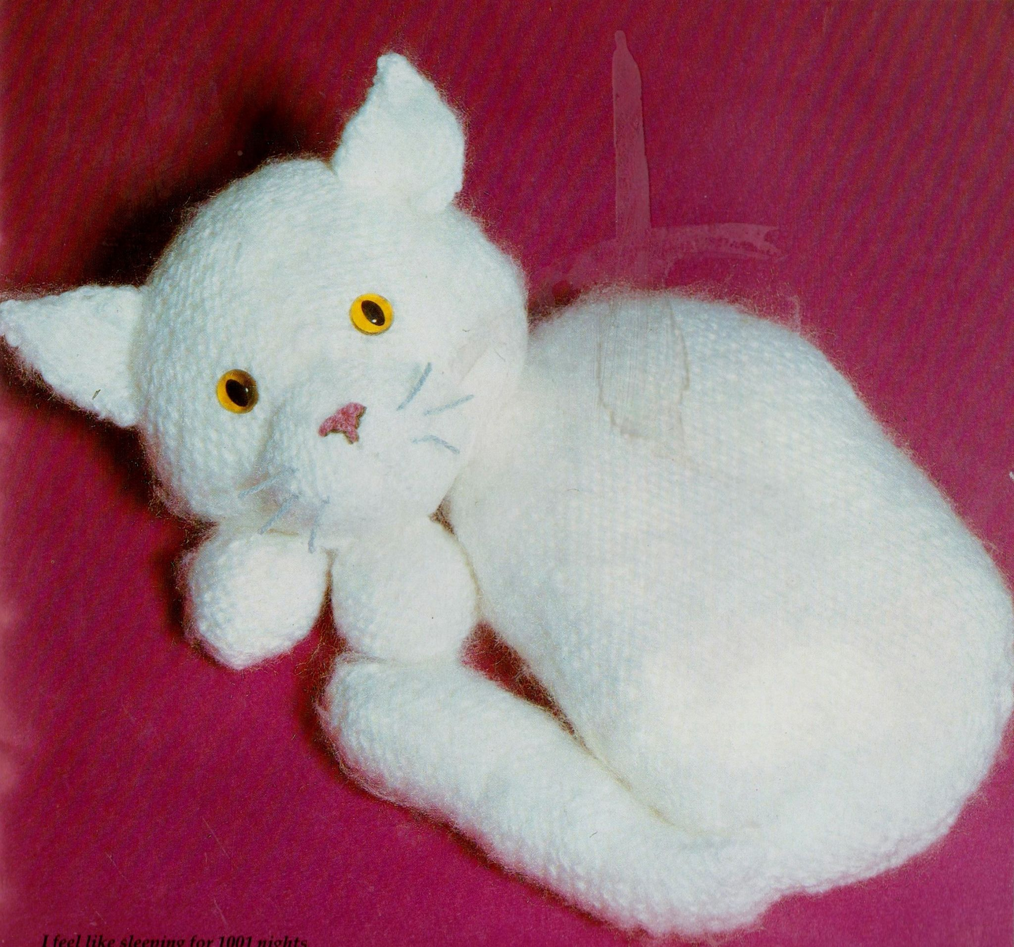 Knitting Patterns For Cat Toys Pdf Vintage Knitting Pattern To Make A Cute Sleeping Cat In Two