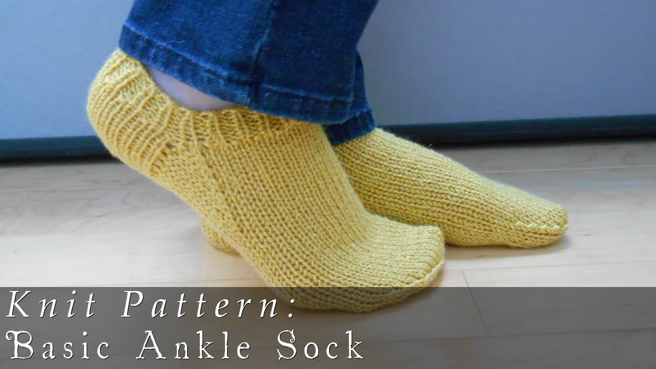Knitting Patterns For Socks Basic Ankle Sock Knit Pattern