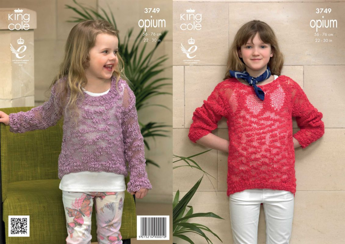 Knitting Patterns For Teenage Sweaters King Cole Opium Girls Sweaters Knitting Pattern 3749