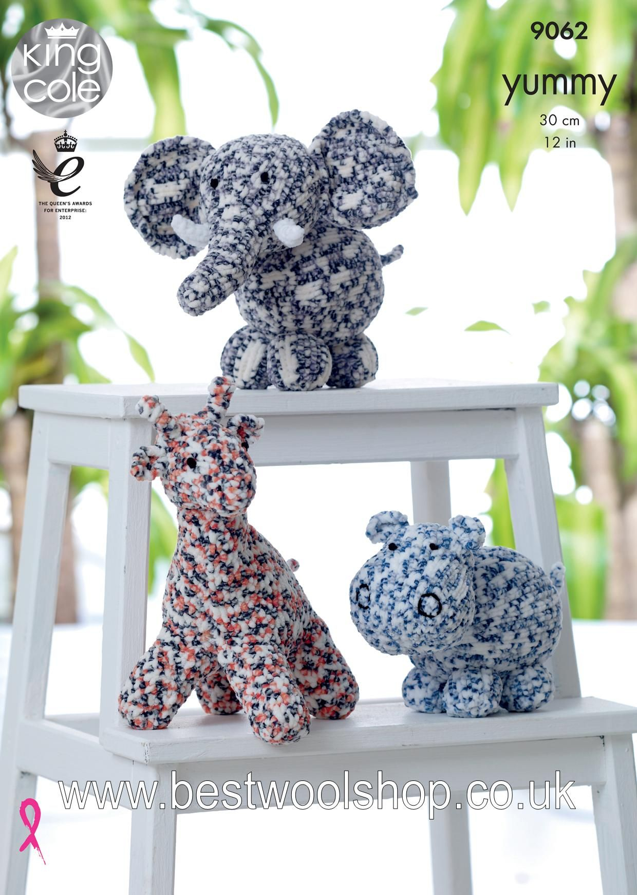 Knitting Patterns For Toys Uk 9062 King Cole Yummy Chunky Toy Giraffe Hippo Elephant Knitting Pattern