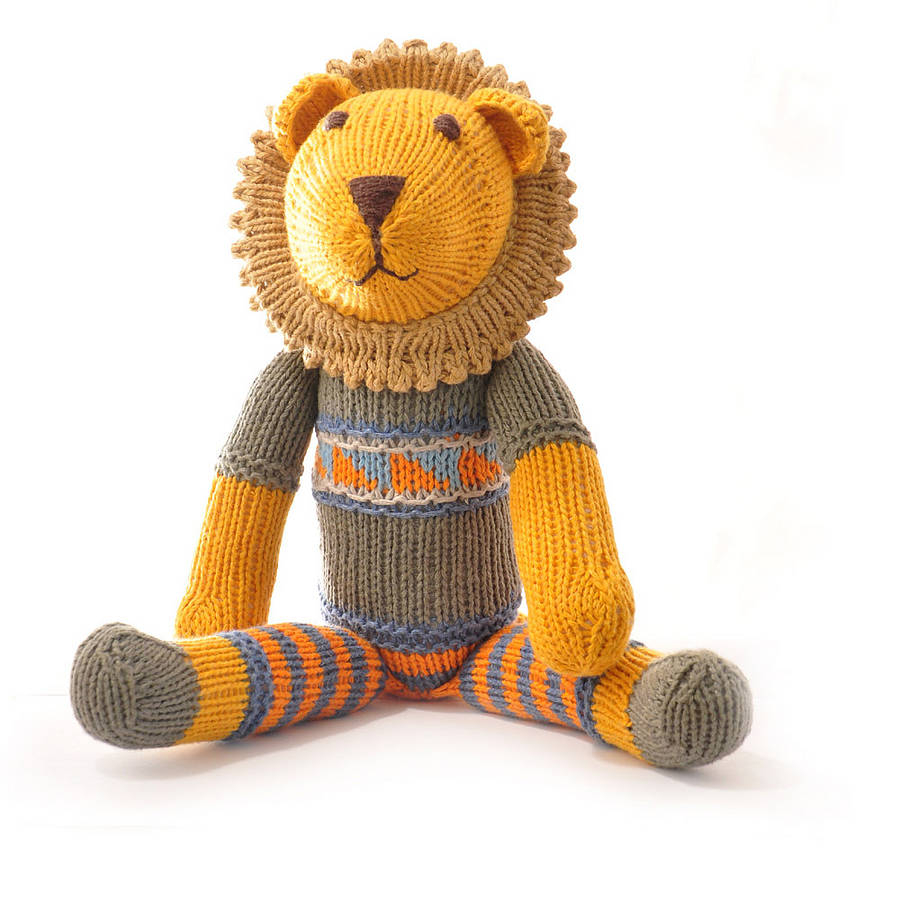 Knitting Patterns For Toys Uk Hand Knitted Lion Soft Toy