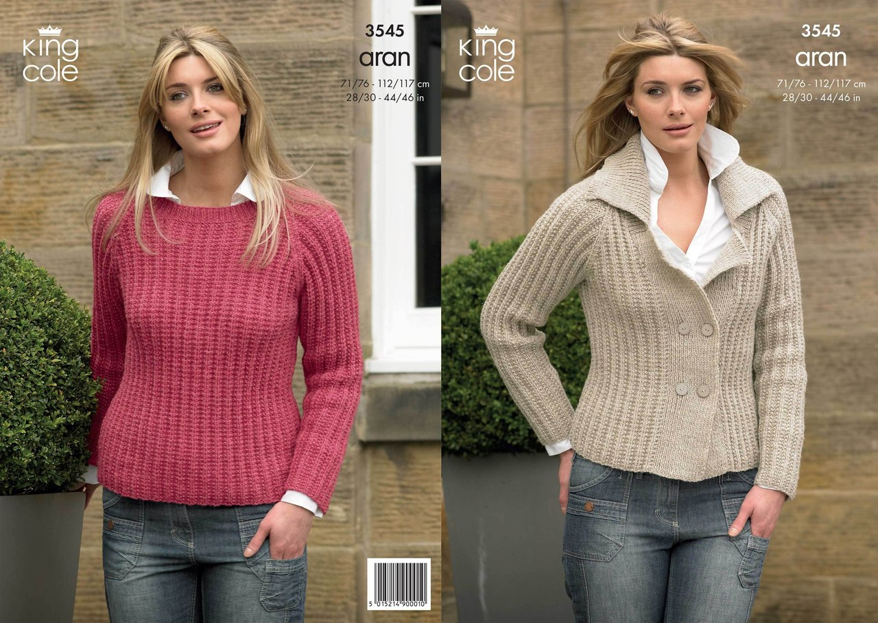 Knitting Patterns For Women King Cole 3545 Knitting Pattern Jacket And Sweater In King Cole Fashion Aran
