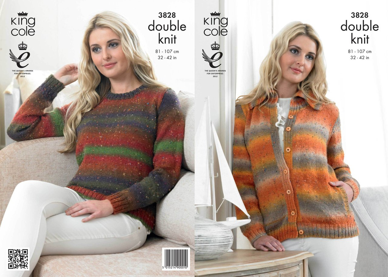 Knitting Patterns For Women King Cole 3828 Knitting Pattern Womens Cardigan And Sweater In King Cole Country Tweed Dk