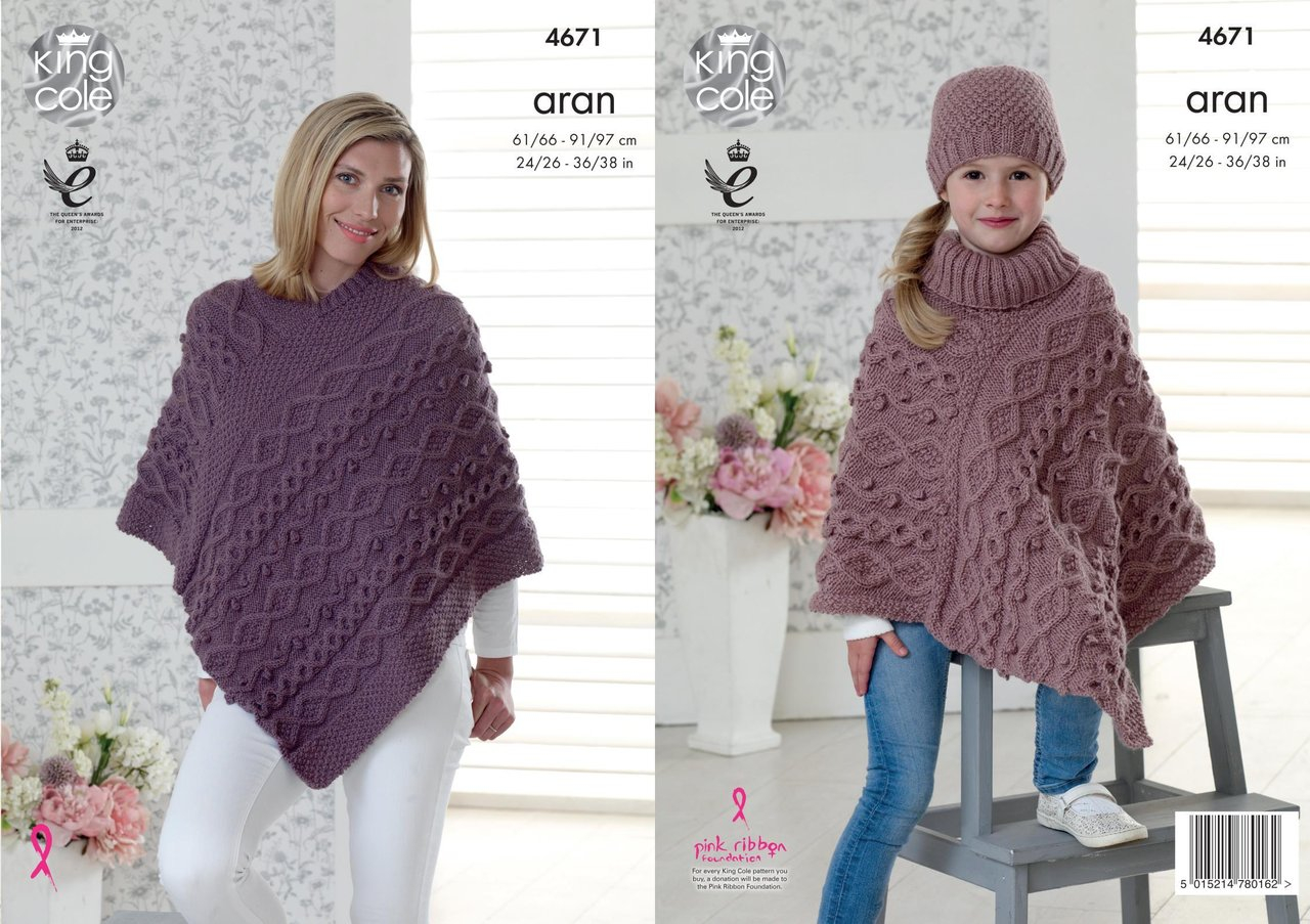 Knitting Patterns For Women King Cole 4671 Knitting Pattern Womens Girls Ponchos And Hat In King Cole Fashion Aran