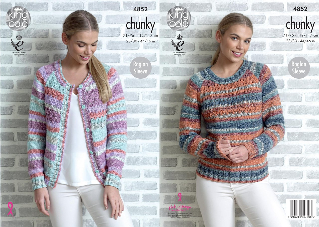 Knitting Patterns For Women King Cole 4852 Knitting Pattern Womens Raglan Cardigan And Sweater In King Cole Drifter Chunky