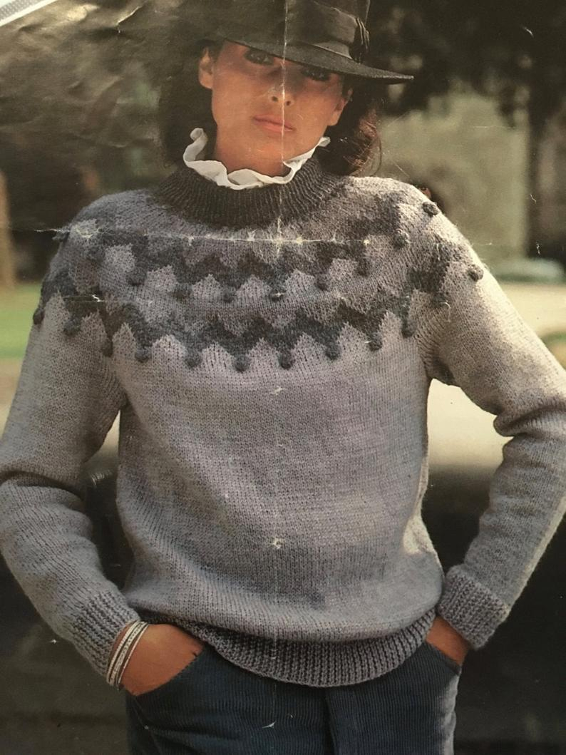 Knitting Patterns For Women Knitting Pattern Women Ladies Fancy Jumper Dk 32 40 Vintage Pdf