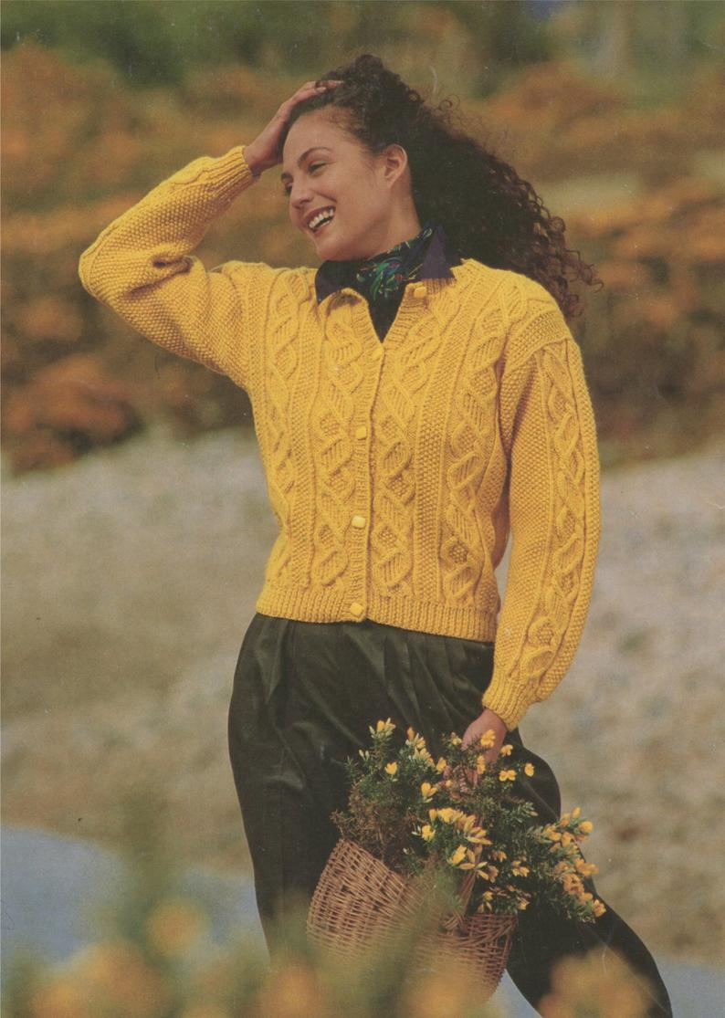 Knitting Patterns For Women Womens Aran Cardigan Knitting Pattern Pdf Ladies 28 30 32 34 36 And 38 Inch Bust Vintage Aran Knitting Patterns For Women Download
