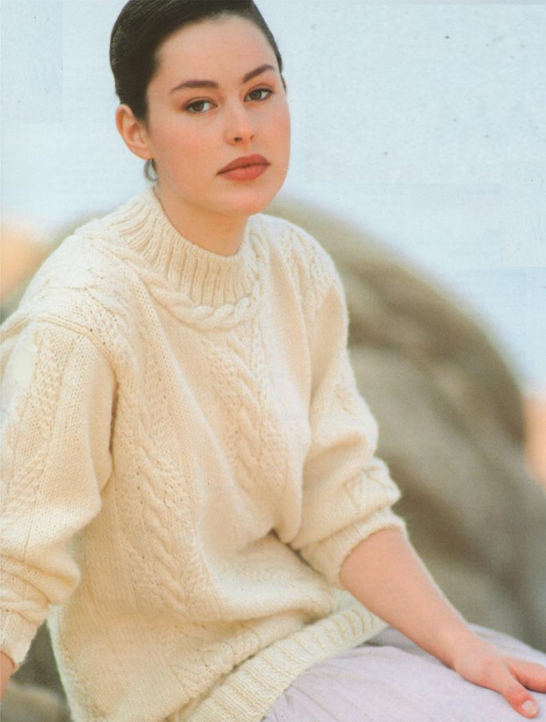 Knitting Patterns For Women Womens Aran Sweater Knitting Pattern Pdf Ladies 32 34 36 38 40 42 Inch Chest Cable Patterned Jumper Vintage Aran Knitting Patterns