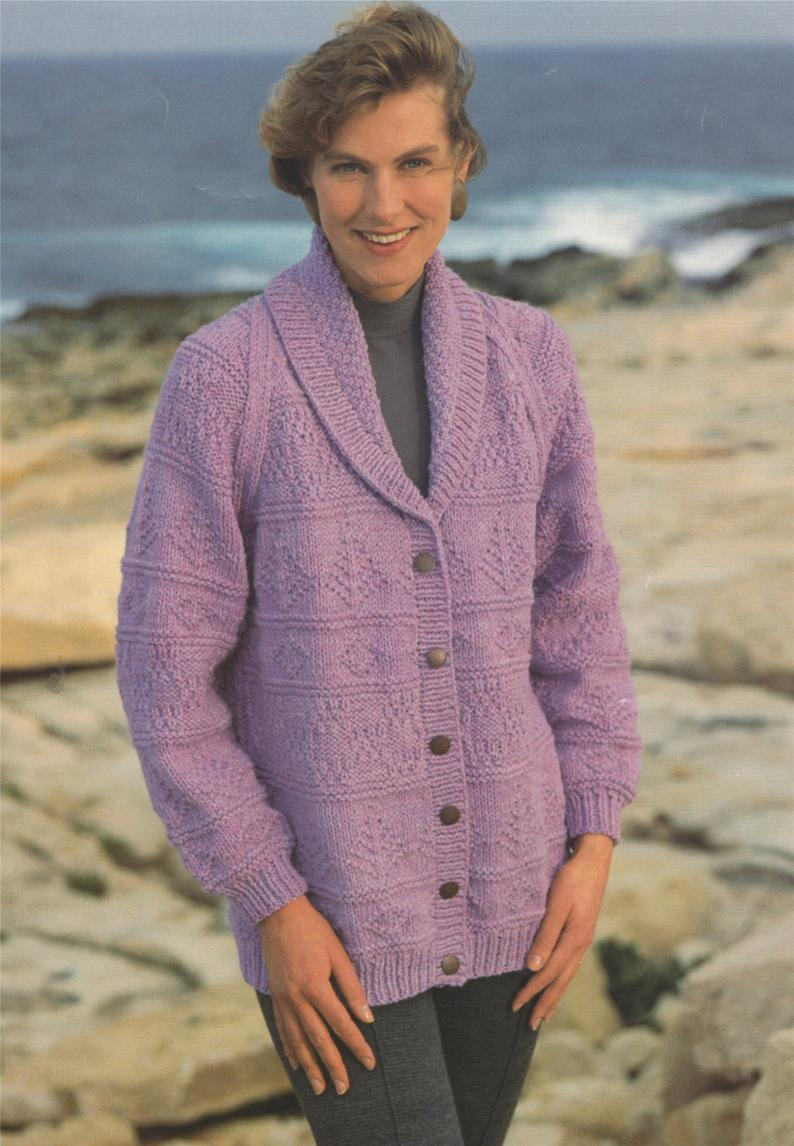 Knitting Patterns For Women Womens Jacket Knitting Pattern Pdf Ladies 32 34 36 38 40 42 Inch Bust Patterned Long Cardigan Vintage Knitting Patterns For Women