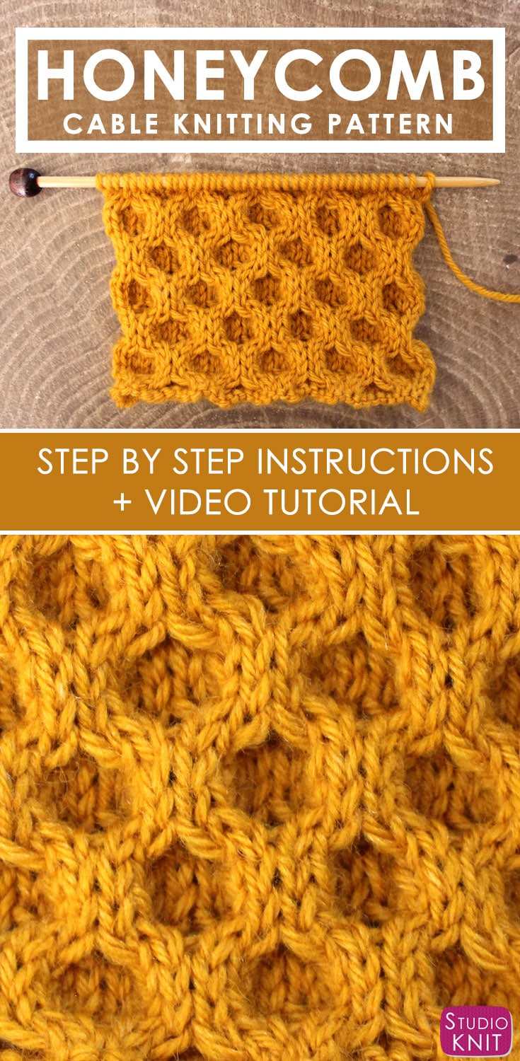 Knitting Patterns Tutorial Honeycomb Cable Stitch Knitting Pattern Studio Knit
