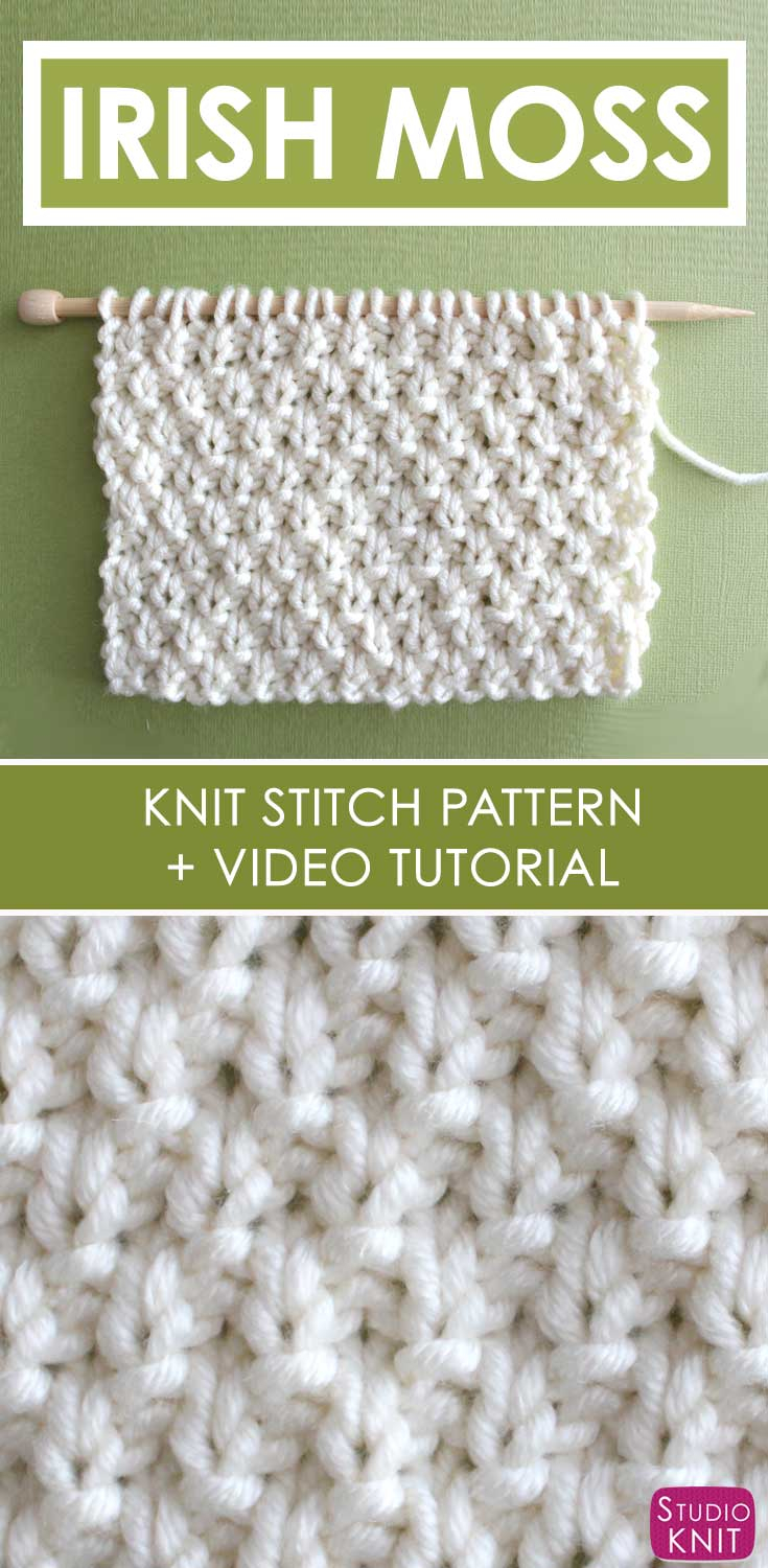 Knitting Patterns Tutorial Irish Moss Stitch Knitting Pattern Studio Knit
