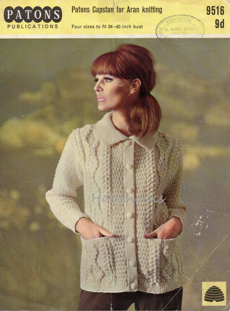 Ladies Aran Cardigan Knitting Patterns Vintage Womens Aran Cardigan Knitting Pattern Pdf Ladies Cable Collar Jacket 34 40inch Aran Worsted 10ply Pdf Instant Download
