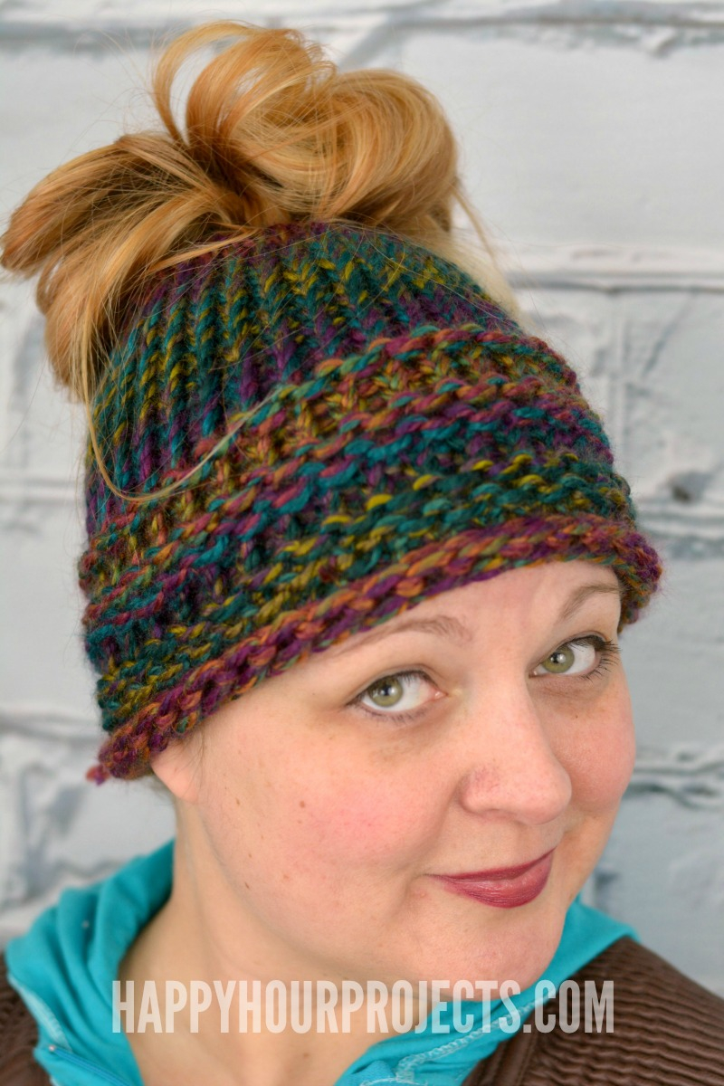 Loom Knit Hat Patterns Free Diy Messy Bun Hat Loom Knitter Pattern For Beginners Happy Hour