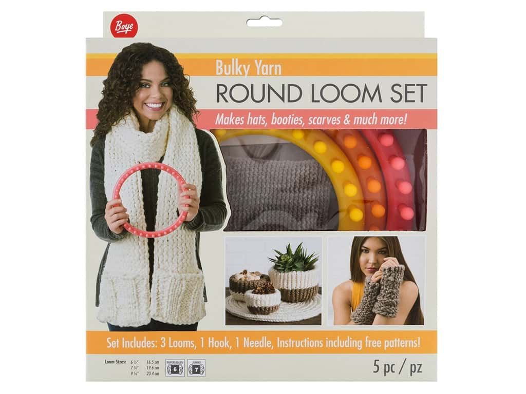 Loom Knit Patterns Round Looms Boye Bulky Yarn Round Loom Set