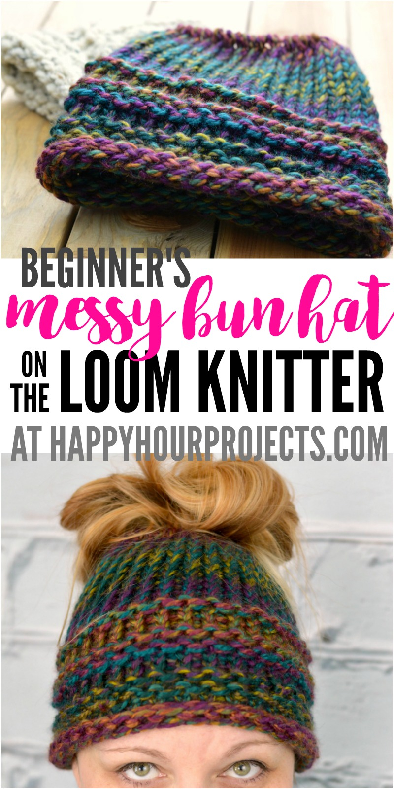 Loom Knit Patterns Round Looms Diy Messy Bun Hat Loom Knitter Pattern For Beginners Happy Hour