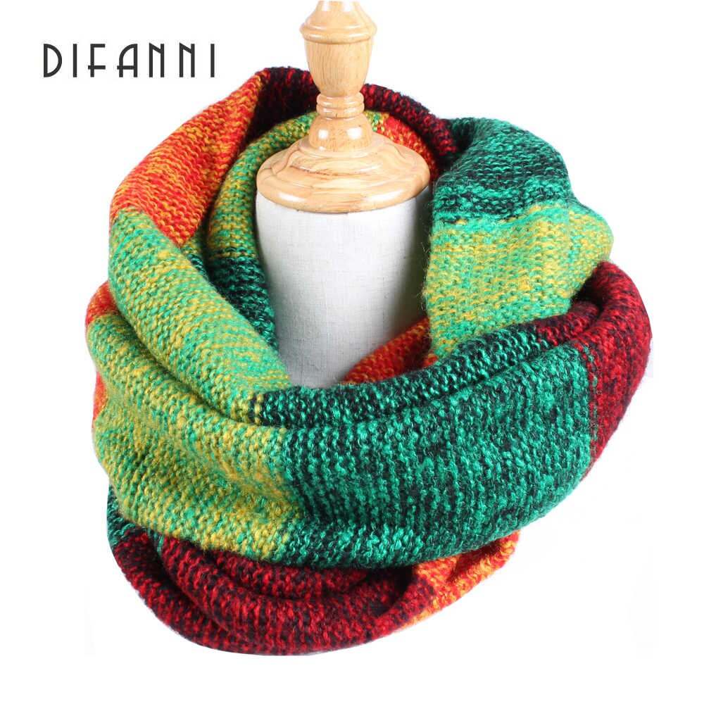 Loop Scarf Knitting Pattern Difanni Good Quality Winter Girl Loop Scarf Colorful Stripe Infinity Scarf Designer Acrylic Mohair Basic Shawls Soft Womens