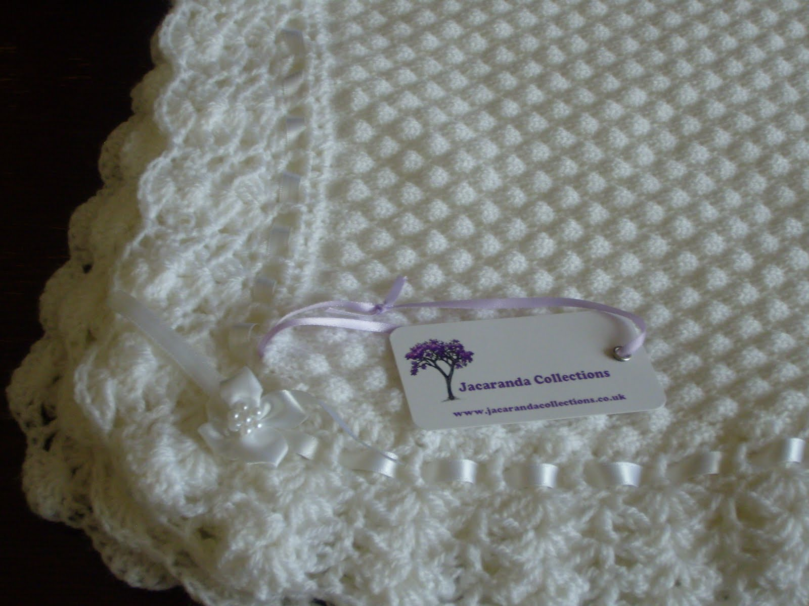 Machine Knit Baby Blanket Pattern Jacaranda Collections Machine Knitted Tuck Blanket With Crochet Edge