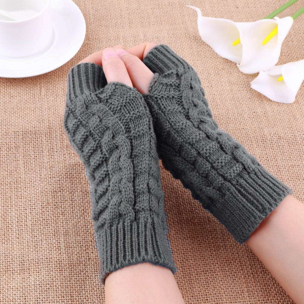 Mens Fingerless Gloves Knit Pattern Knitted Arm Fingerless Gloves Autumn Winter Women Warmth Long Stretchy Mittens Women Winter Hand Arm Warm Female Gloves