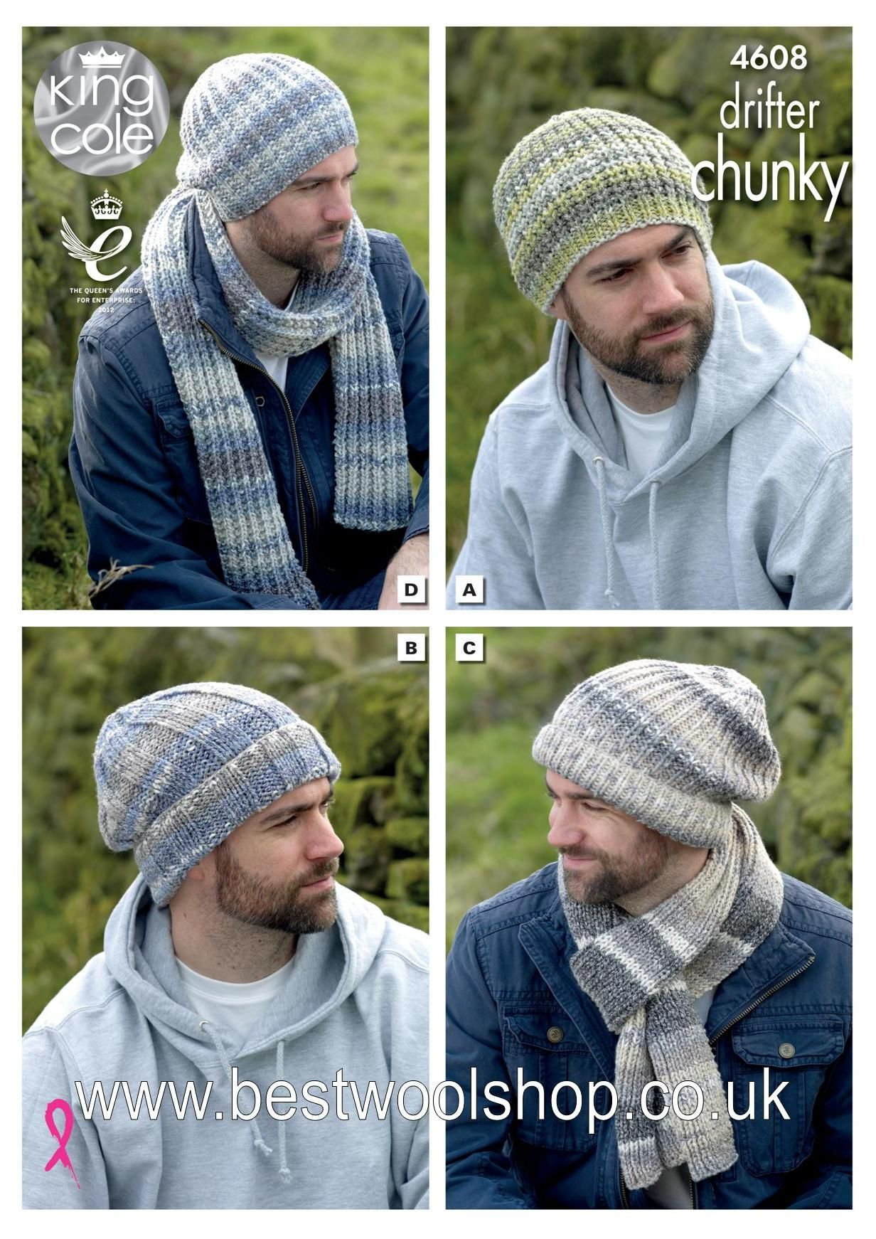 Mens Knit Patterns 4608 King Cole Drifter Chunky Mens Hat Scarf Collection Knitting Pattern