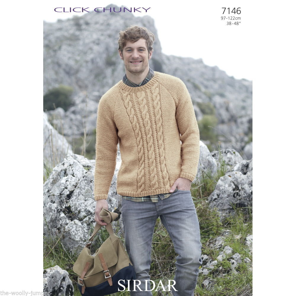 Mens Knit Patterns 7146 Sirdar Click Chunky Mens Sweater Knitting Pattern To Fit Chest 38 To 48