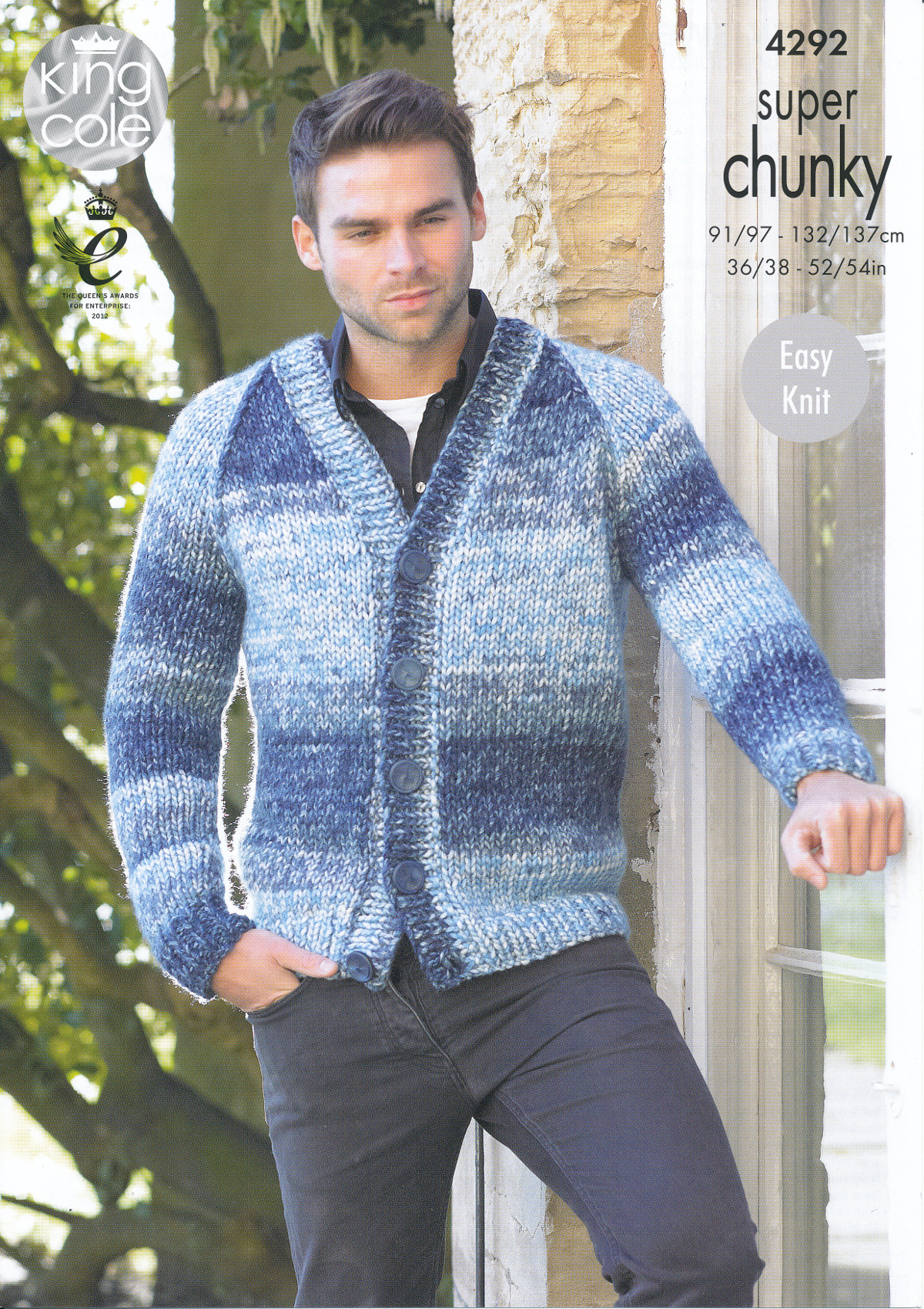 Mens Knit Patterns Details About Mens Super Chunky Knitting Pattern King Cole Easy Knit Jumper Cardigan 4292