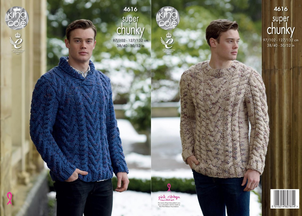 Mens Knit Patterns King Cole 4616 Knitting Pattern Mens Sweaters In King Cole Big Value Super Chunky Twist