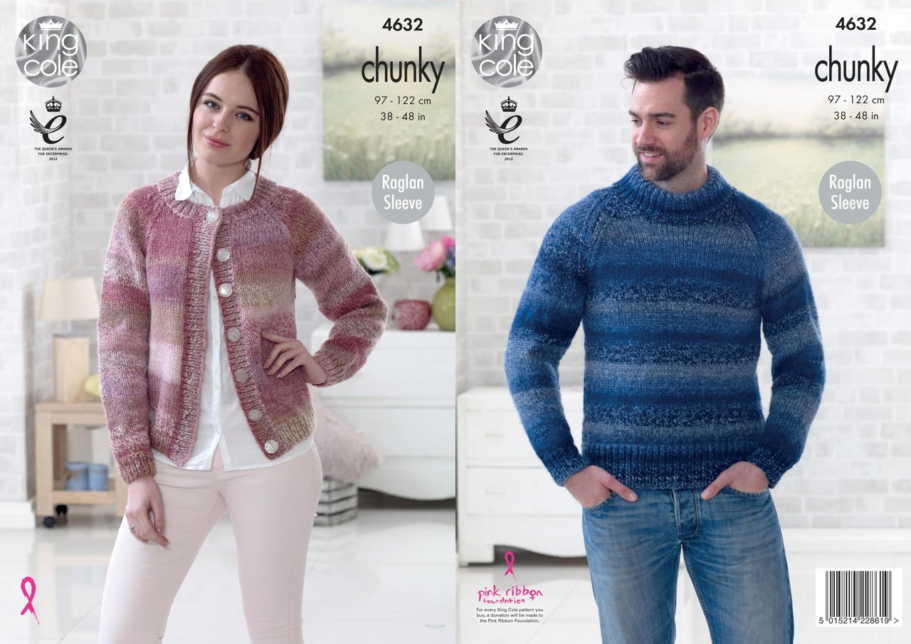 Mens Knit Patterns King Cole 4632 Knitting Pattern Easy Knit Mens Sweater Womens Cardigan In King Cole Cotswold Chunky