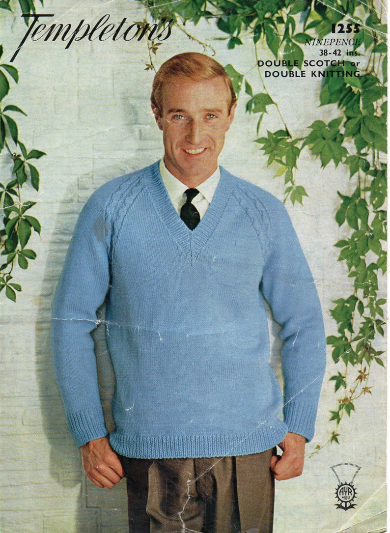 Mens Knit Patterns Mens Classic Sweater Knitting Pattern Pdf Mens V Neck Jumper Vintage 1960s 38 42 Inches Dk 8ply Pdf Instant Download