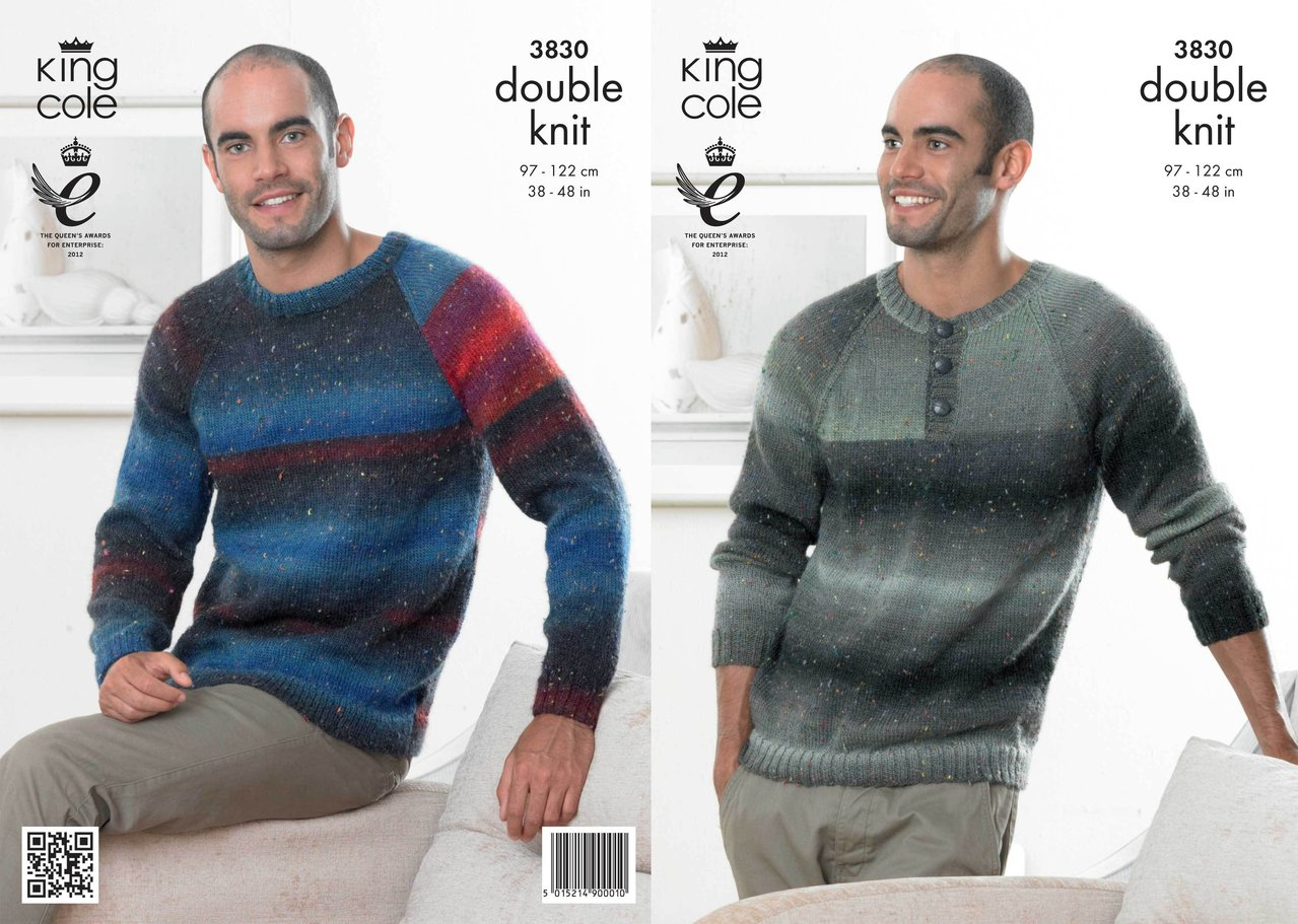Mens Knitting Patterns King Cole 3830 Knitting Pattern Mens Sweaters In King Cole Country Tweed Dk