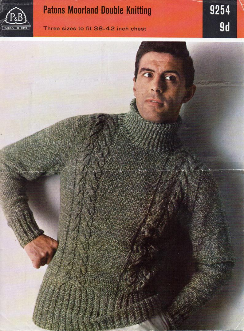 Mens Knitting Patterns Mens Knitting Pattern Mens Cable Polo Neck Sweater Mens Sweater Polo Neck Jumper 38 42 Inch Dk Mens Knitting Patterns Pdf Instant Download