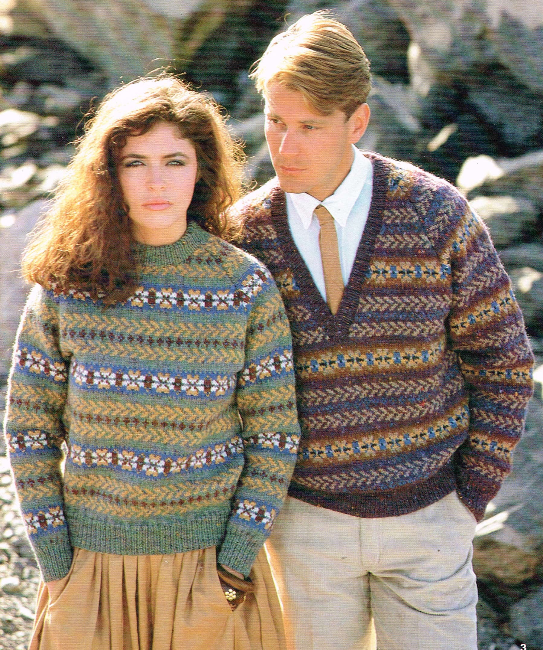 Mens Knitting Patterns Vintage Knitting Pattern For Mens And Womens Fair Isle Sweaters Pdf Download 80s Retro Pullover