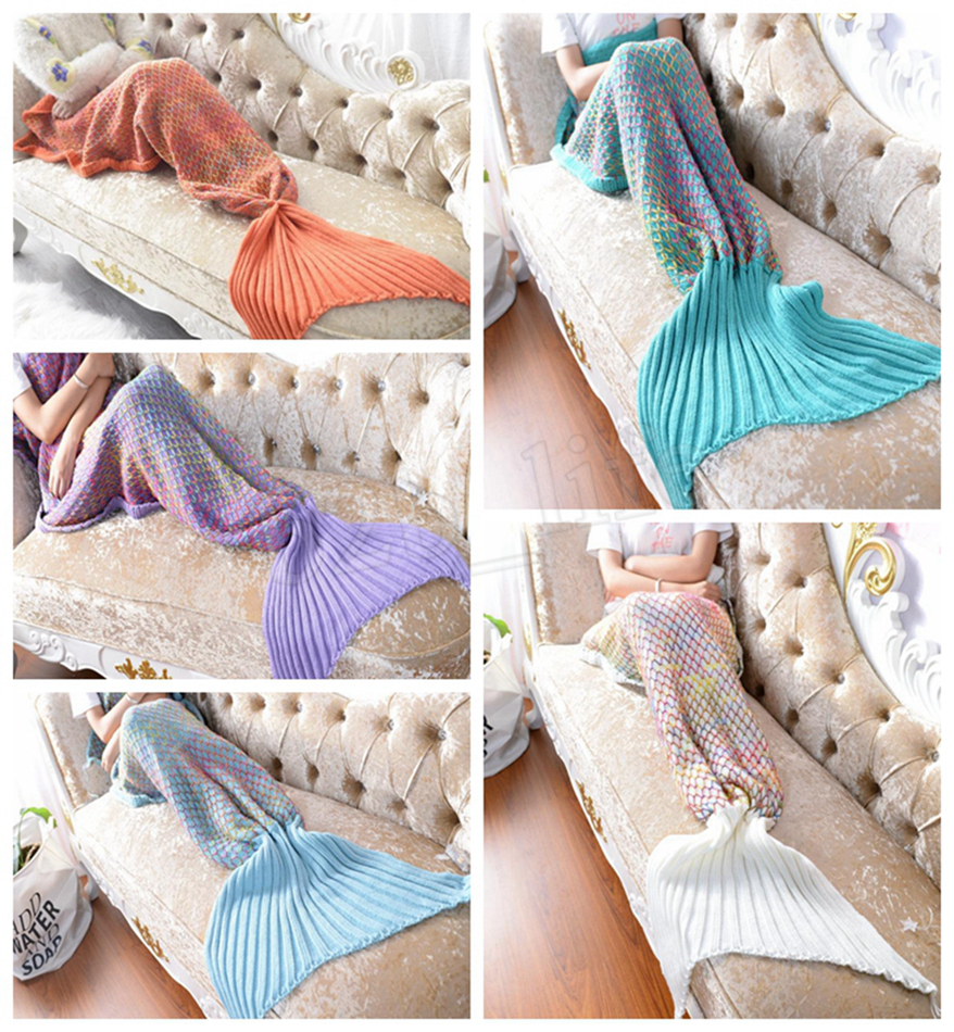 Mermaid Cocoon Knitting Pattern 5 Colors Mermaid Tail Blanket Adult Sofa Acrylic Fibres Knitting Multi Color Fish Scale Grid Quilt Rug Cocoon Sleeping Sack Gift Mma614