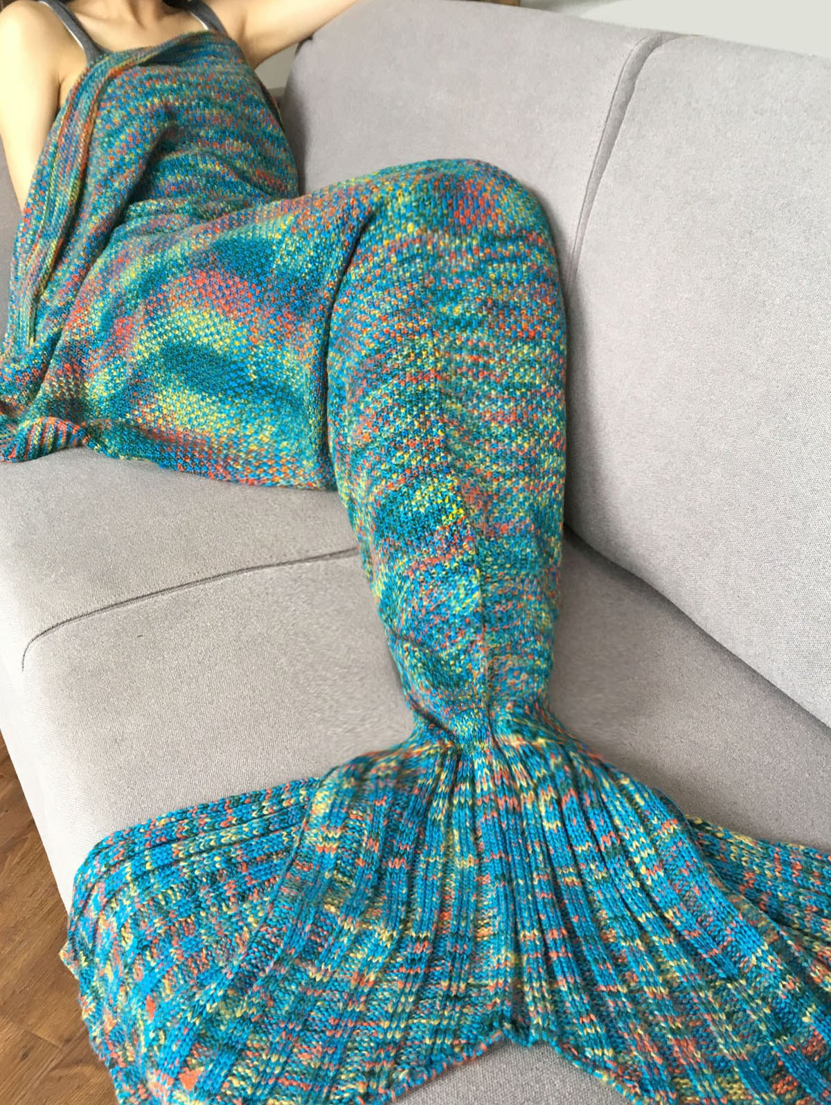 Mermaid Cocoon Knitting Pattern Fashion Crochet Knitted Super Soft Mermaid Tail Shape Blanket For Adult