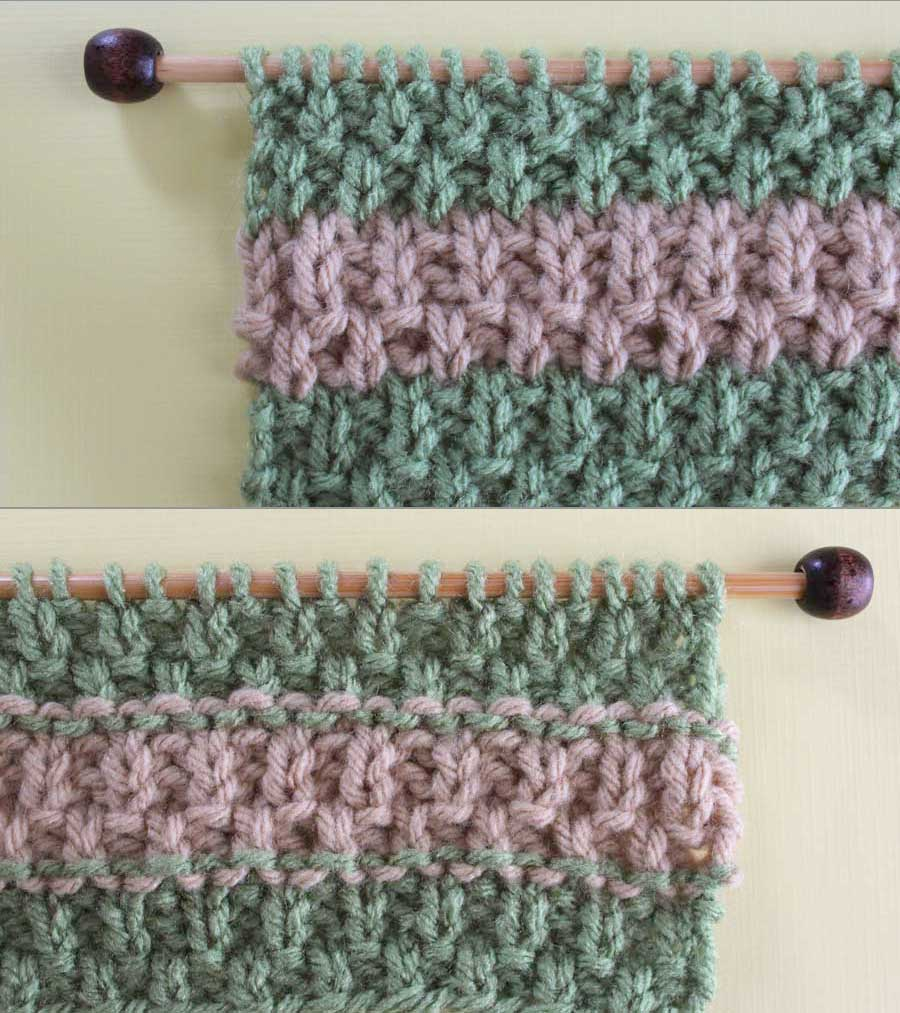 Moss Stitch Scarf Knitting Pattern How To Remove Purl Dash Lines Knitting Technique Studio Knit