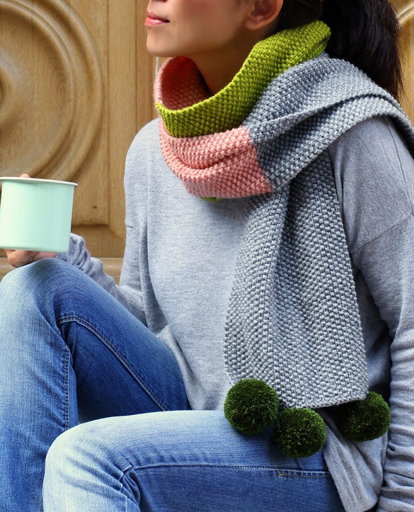 Moss Stitch Scarf Knitting Pattern Wool Week Day 5 Knit A Colour Block Scarf Mollie Makes