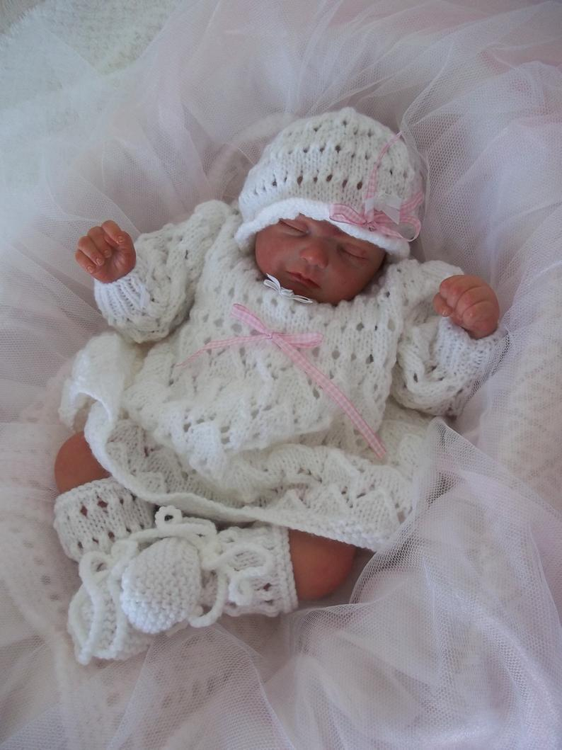 New Born Knitting Patterns A Ba Knitting Pattern Pdf Download Knitting Pattern Newborn Ba Girls Or 19 21 Reborn Dolls Dress Hat Booties