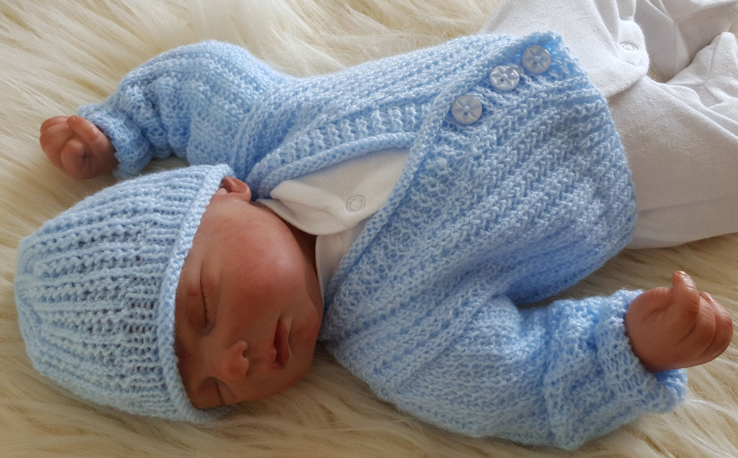 Newborn Knit Patterns A Ba Knitting Pattern Boys Or Reborn Dolls Sweater Set Instant Download Pdf Cardigan Hat Easy Knit Design