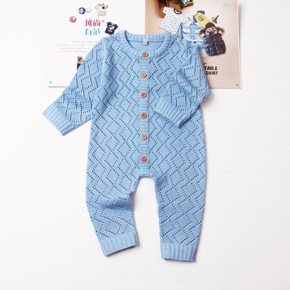 Newborn Knit Patterns Us 1192 46 Offba Girls Rompers Long Sleeve Knitting Pattern Boys Overalls For Newborns Jumpsuits One Piece Autumn Toddler Infant Clothes 0 2 In