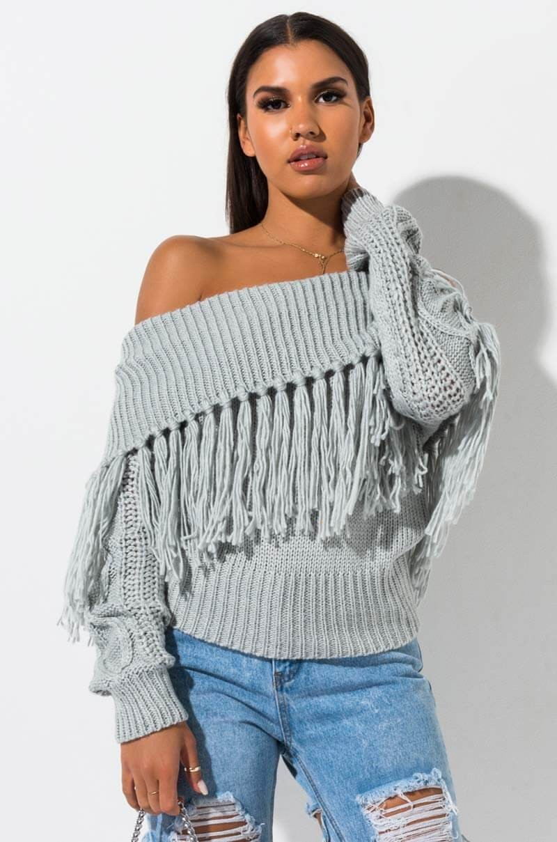 Off The Shoulder Sweater Knitting Pattern Akira Label Chunky Soft Knit Off Shoulder Sweater In White Gray