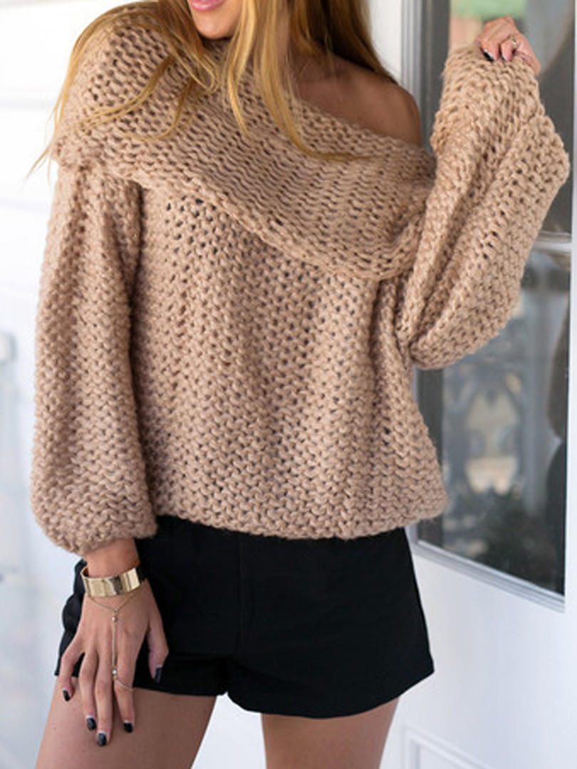 Off The Shoulder Sweater Knitting Pattern Khaki Off Shoulder Chunky Long Sleeve Knitted Sweater