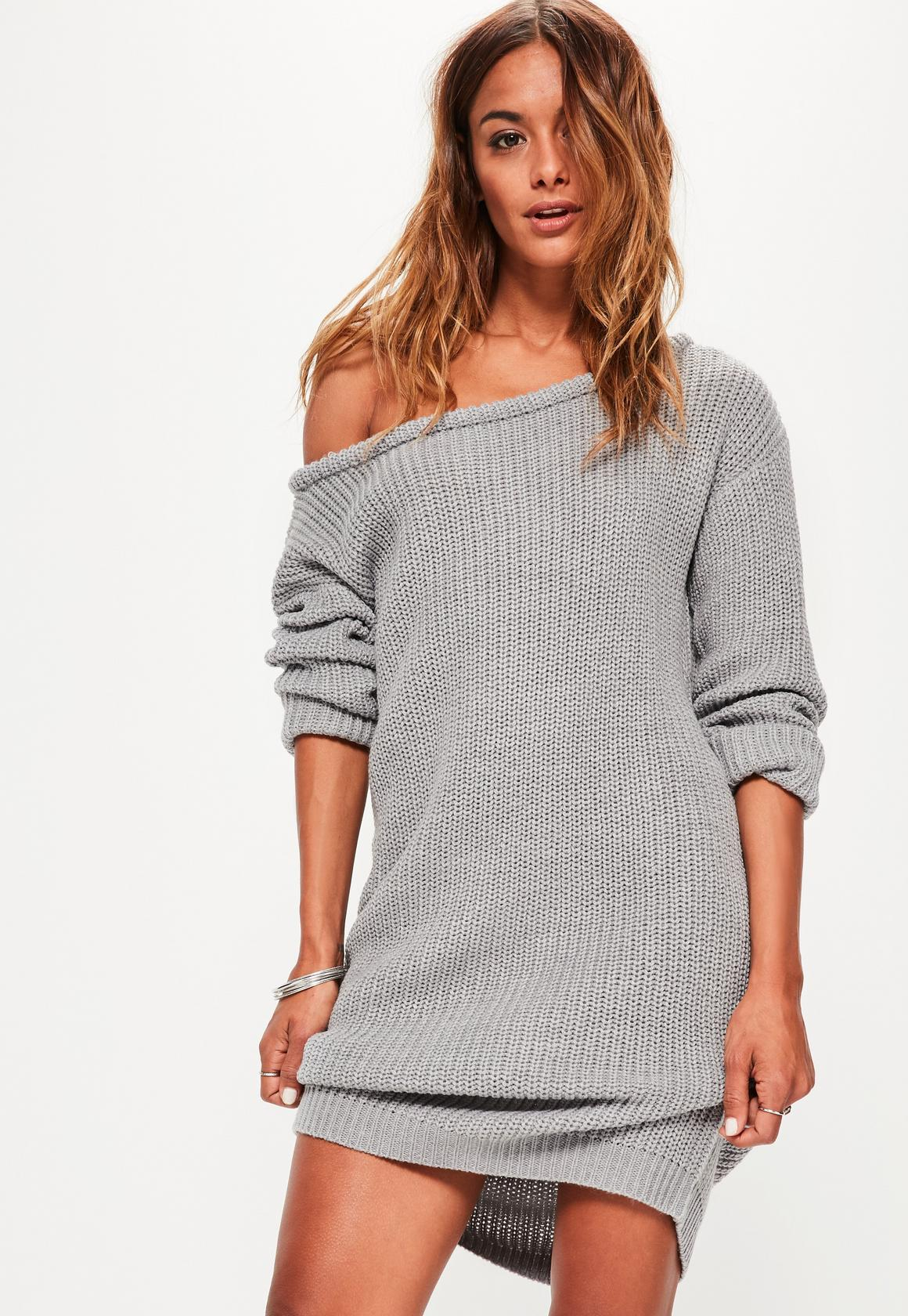 Off The Shoulder Sweater Knitting Pattern Knitted Dress Grey Off Shoulder Knitted Jumper Dress Crochet And