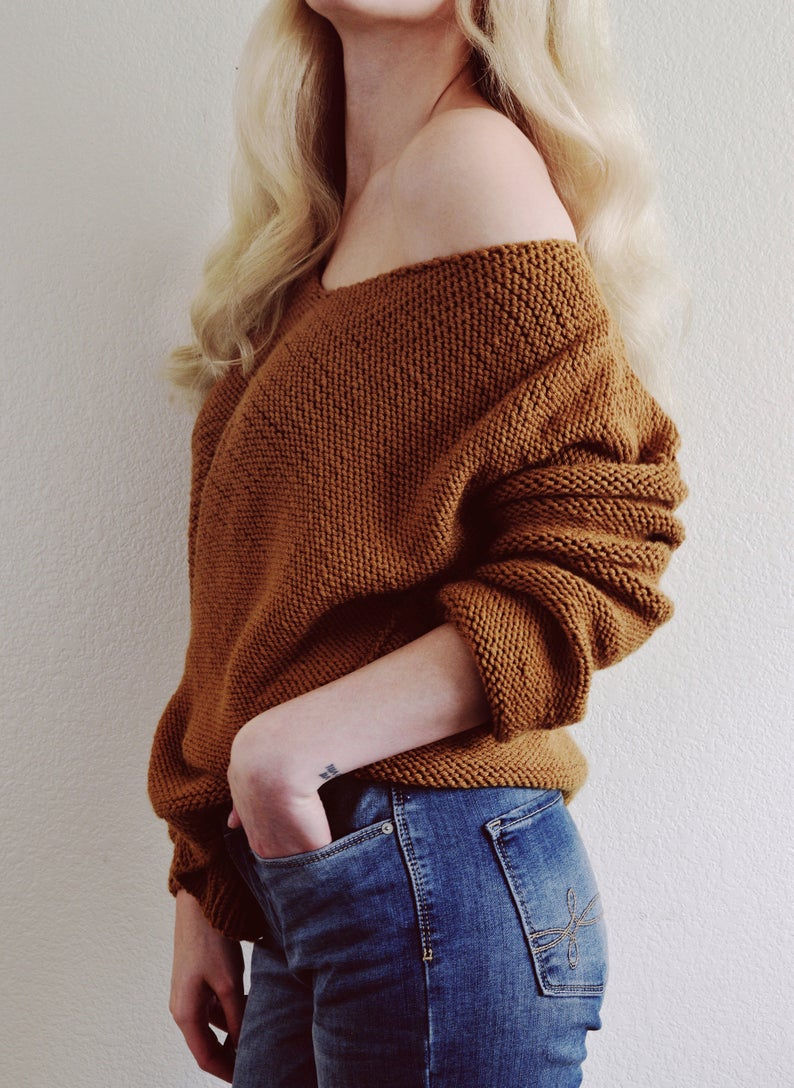 Off The Shoulder Sweater Knitting Pattern Knitting Pattern Off Shoulder Knit Sweater Pattern Womens Fall Fashion V Neck Off Shoulder Sweater Easy V Neck Sw