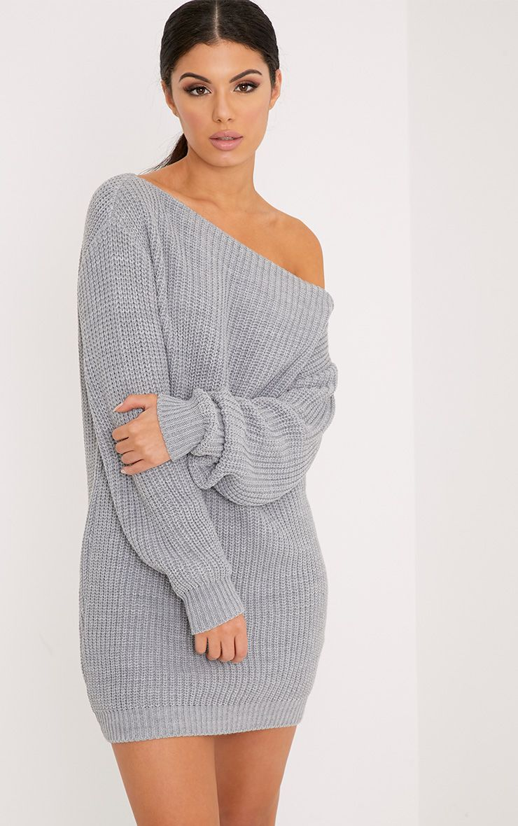 Off The Shoulder Sweater Knitting Pattern Larissa Grey Off The Shoulder Knitted Dress
