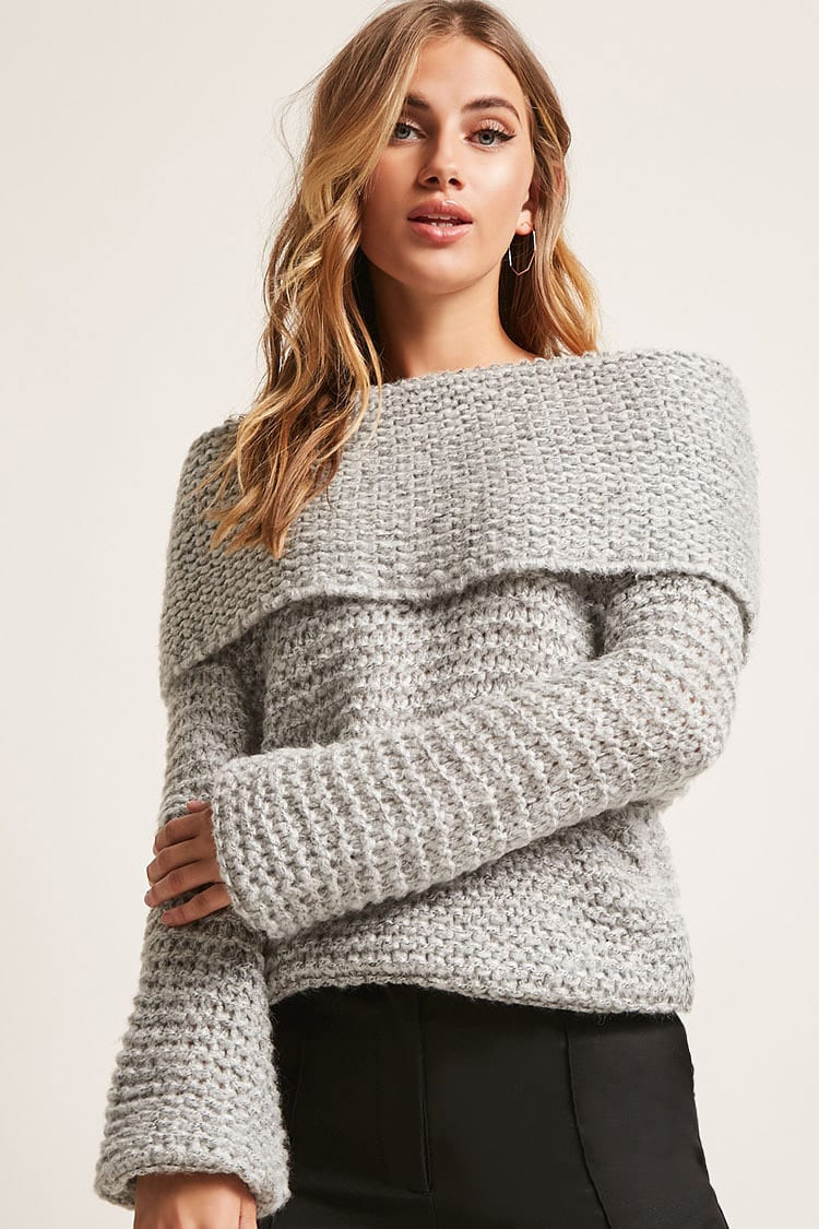 Off The Shoulder Sweater Knitting Pattern Marled Honeycomb Knit Off The Shoulder Sweater