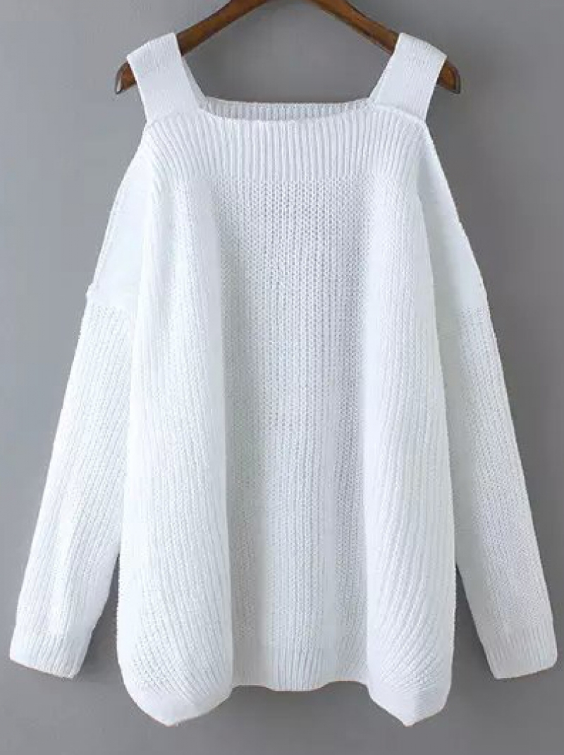 Off The Shoulder Sweater Knitting Pattern White Off The Shoulder Knit Loose Sweater